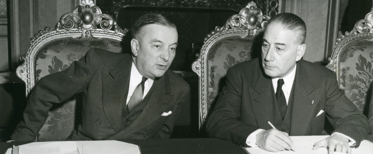 "French Prime Minister René Mayer (r.) and Foreign Minister Georges Bidault (l.) open talks on a ""European Transport Pool"" in Paris on 29 January 1953"