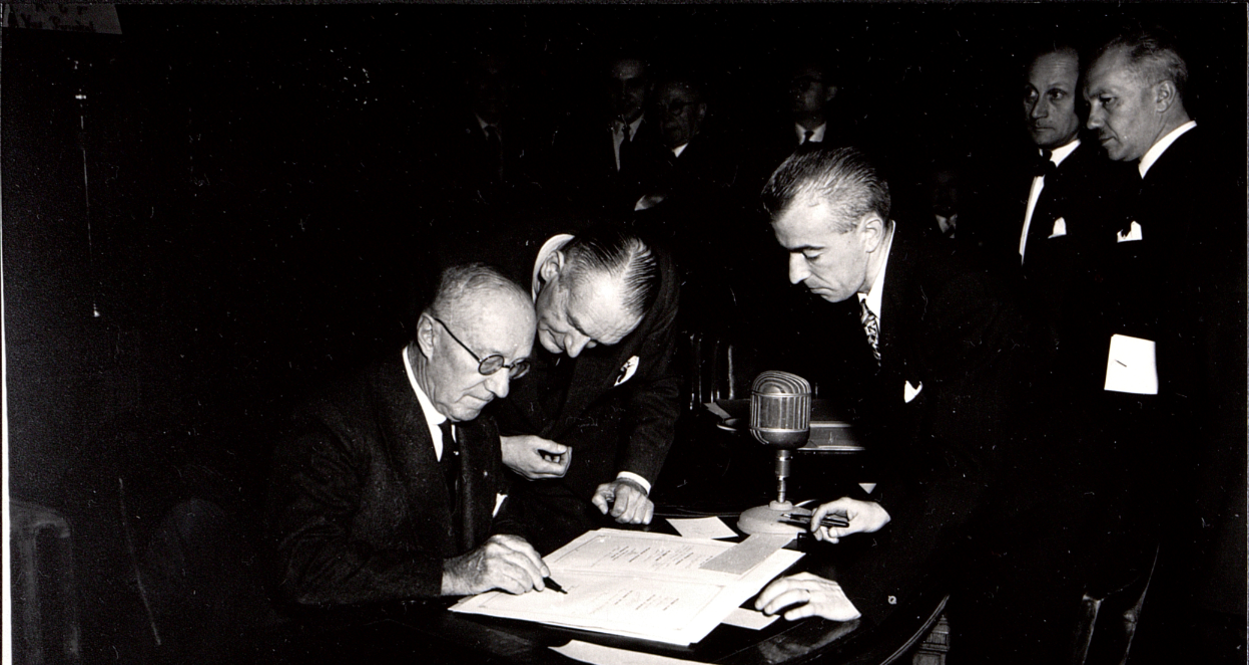 "Ministers of 16 nations sign the ""Protocol concerning the European Conference of Ministers of Transport"" in Brussels on 17 October 1953"