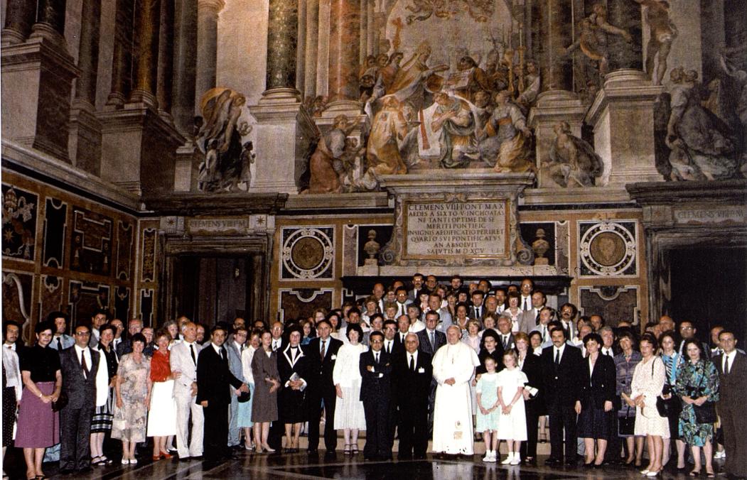 ECMT delegation meets the Pope 1985 photo