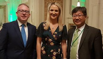 Young Tae Kim with Secretary General Graham Doyle of Irish Department of Transport and Minister for European affairs Helen McEntee