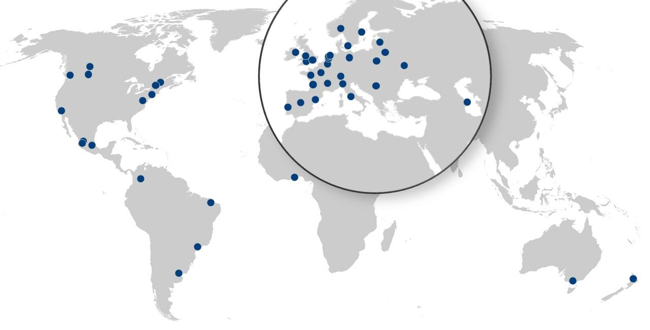 Safer City Streets member cities on a global world map
